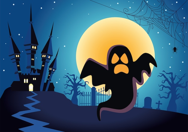 Halloween-geist schwimmt mit spukschloss