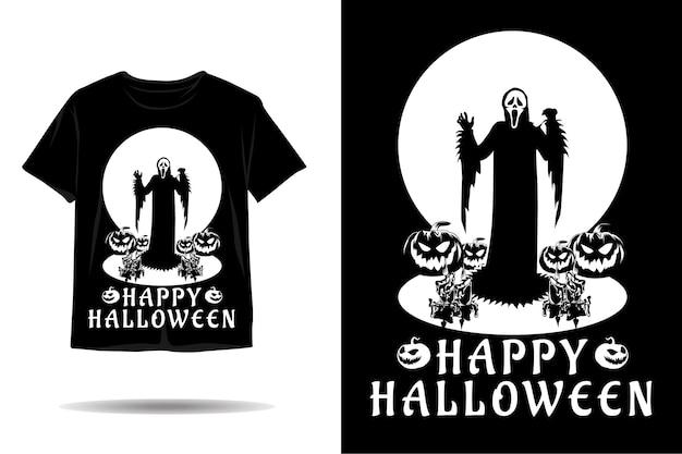 Halloween-geist-silhouette-t-shirt-design