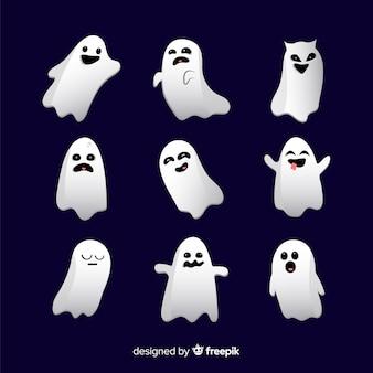 Halloween-geist stellt sammlung im flachen design gegenüber