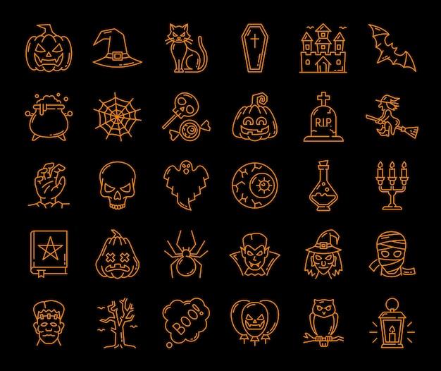 Halloween, geist und kürbis, hexen- und spinnennetz, vektor-symbole für beängstigende charaktere. halloween urlaub umriss gruselige monster und skelett mit schwarzer katze und fledermaus, hexenhut und schädel mit kerze