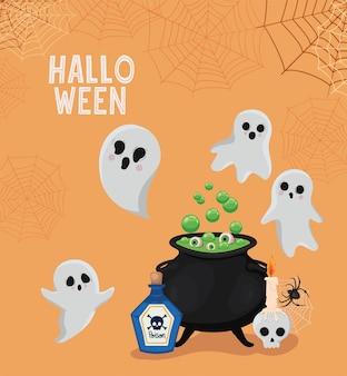 Halloween-geister-cartoons mit hexenschalenentwurf, feiertag und gruseligem thema
