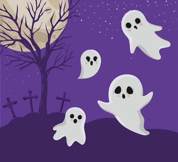 Halloween geister geister cartoons vor friedhof design, urlaub und gruseliges thema