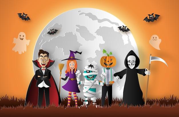 Halloween geister mit vollmond