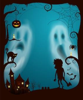 Halloween-geister und nachtgespenstischer kirchhof-vektor