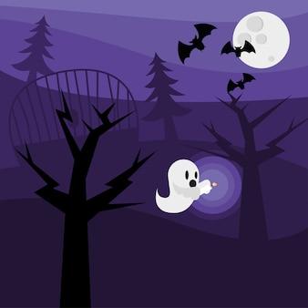 Halloween-geisterkarikatur mit baumdesign, gruseliges thema