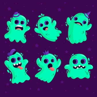 Halloween-geisterkollektion mit flachem design