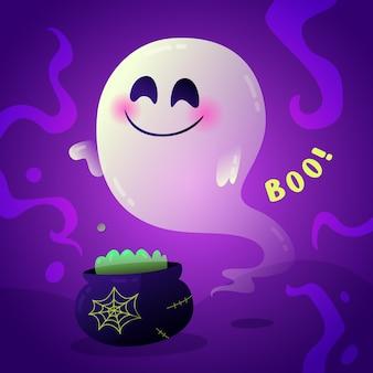 Halloween-geistillustration mit farbverlauf