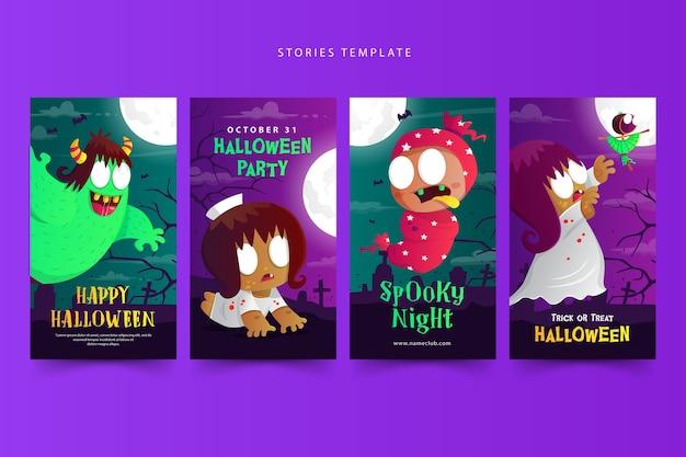 Halloween-geschichtenschablone mit dem niedlichen indonesischen geisterkarikatur