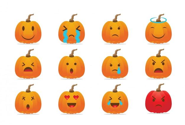Halloween geschnitzte kürbissammlung. reihe von lustigen und traurigen emoticons gesichter