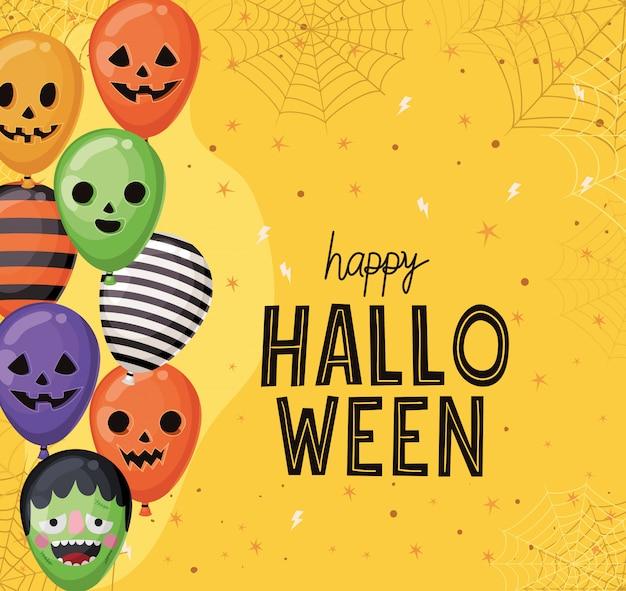 Halloween gestreifte frankenstein- und kürbisballons mit spinnennetzentwurf, feiertag und gruseligem thema