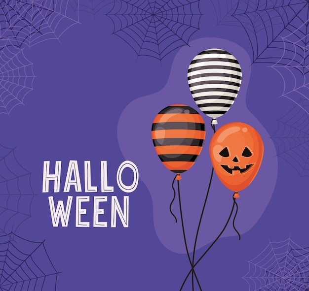Halloween gestreifte und kürbisballons mit spinnennetzentwurf, feiertags- und gruseligem thema
