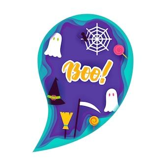 Halloween ghost papercut-konzept. vektor-illustration. süßes oder saures.