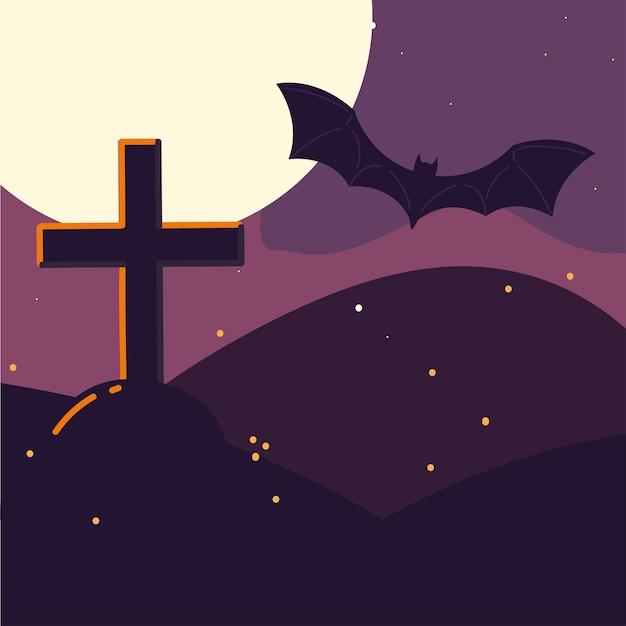 Halloween grabstein und fledermaus