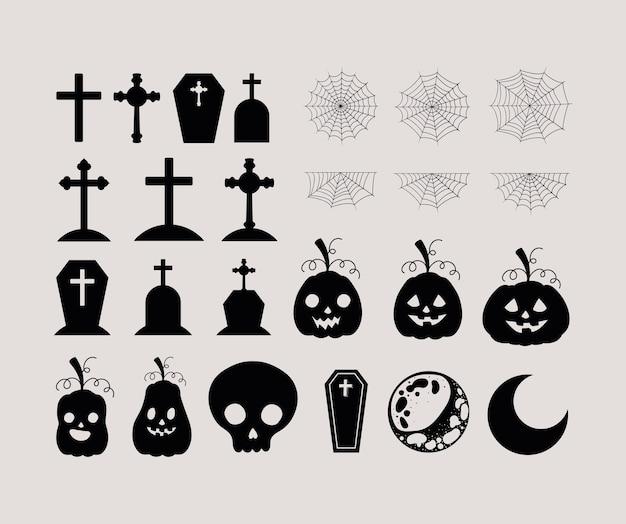 Halloween-gräber kreuzt kürbisschädelmonde und spinnennetz-set-design, urlaub und gruseliges thema