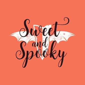 Halloween-grafikdruck für t-shirts, kostüme und dekorationen. typografie-design mit zitat - süß und gruselig mit fledermaus. urlaub-emblem. lager vektor.