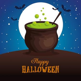 Halloween-gruß mit großem kessel