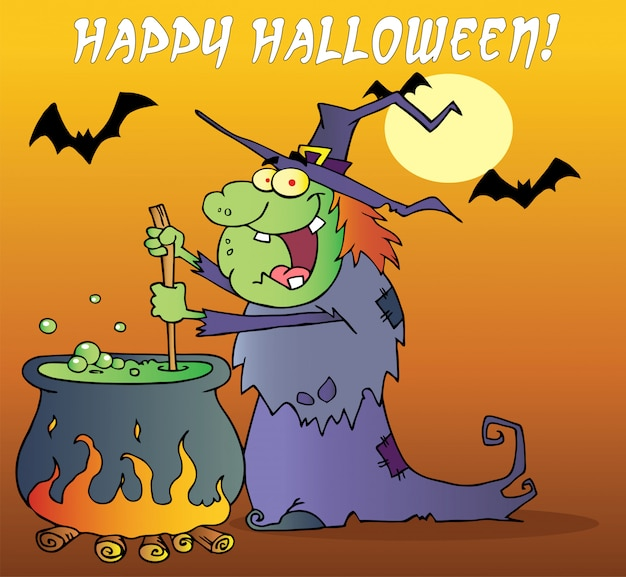 Halloween-gruß über einer hexe, die einen trank bildet