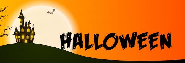 Halloween-grußkarte mit haus am mond