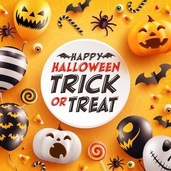 Halloween-grußkarte mit niedlichem halloween-kürbis, fledermaus, spinne und süßigkeit