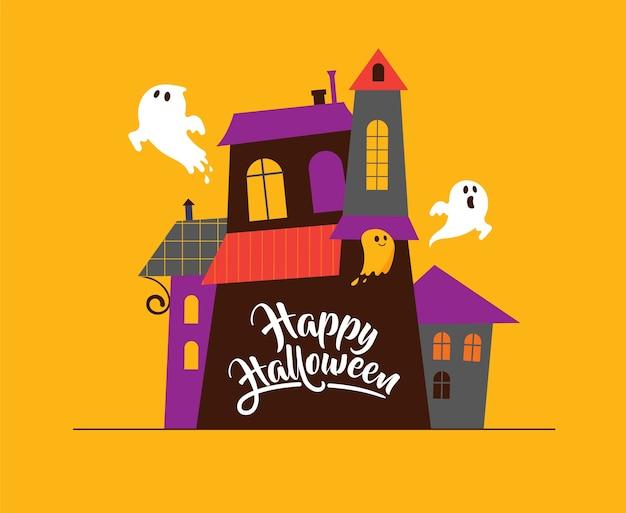 Halloween-grußkarten - spukhaus, geister
