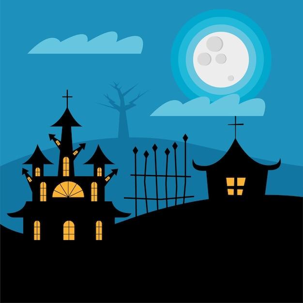 Halloween-häuser mit tor bei nachtentwurf, gruseliges thema