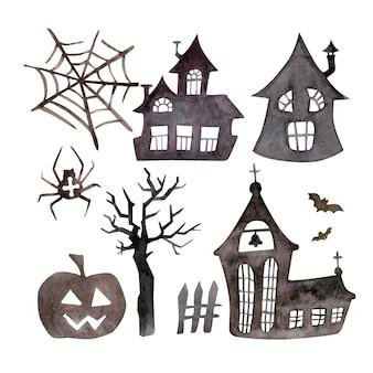 Halloween häuser silhouette