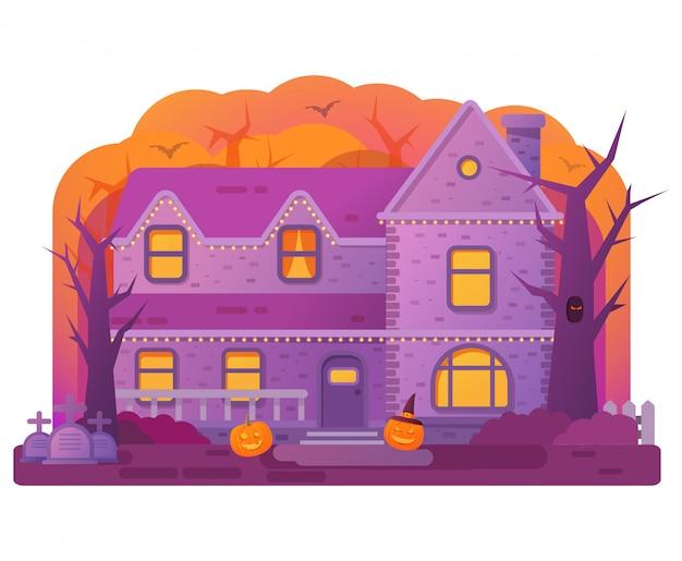 Halloween haus. alter friedhofsgrabstein. fledermäuse und kürbis. horror geschichte.