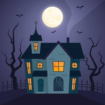 Halloween-haus im flachen design