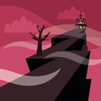 Halloween-haus in der nacht, feiertag und gruselige illustration