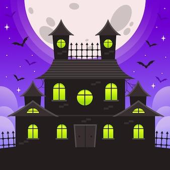Halloween haus mit fledermäusen