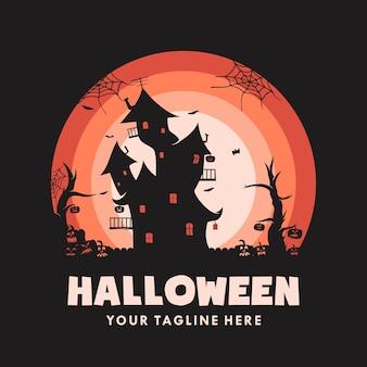 Halloween-haus mit kürbis-logo