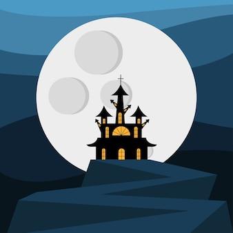 Halloween-haus mit tor vor mondentwurf, gruseliges thema