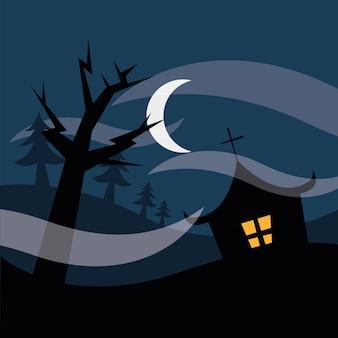 Halloween hausbaum tor bei nacht design, gruseliges thema