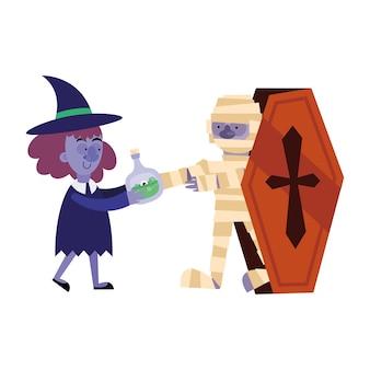 Halloween-hexe mit gift und mumienkarikatur im sarg, frohe feiertage und unheimlich