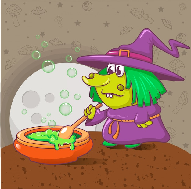 Halloween-hexenkonzept, karikaturart