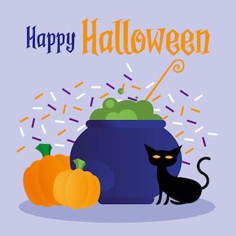 Halloween hexenschale katze und kürbisse design, gruseliges thema