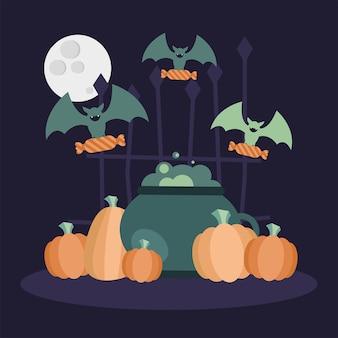 Halloween hexenschale kürbisse und fledermäuse design, gruseliges thema