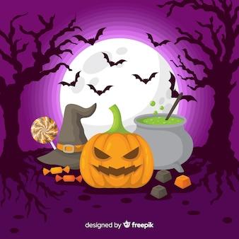 Halloween-hintergrund im flachen design