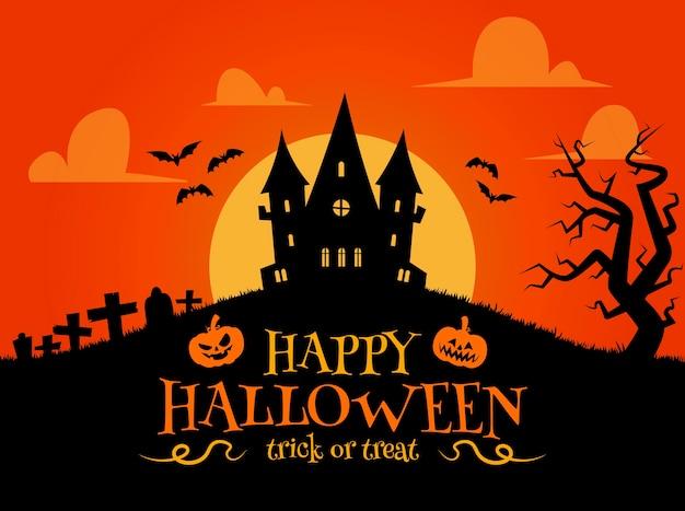 Halloween-hintergrund im flachen entwurf mit einem spukhaus