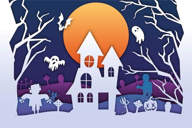 Halloween-hintergrund im papierstil