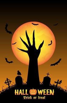 Halloween-hintergrund mit der dämonhand im friedhof