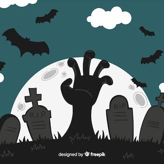 Halloween-hintergrund mit der hand, die aus friedhof heraus erreicht