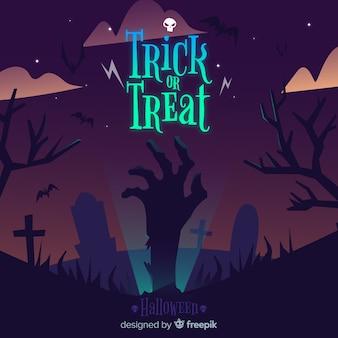 Halloween-hintergrund mit der zombiehand