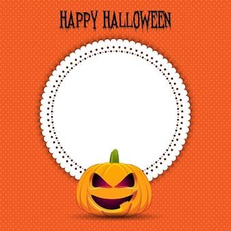 Halloween-hintergrund mit einem kürbis und leeres etikett