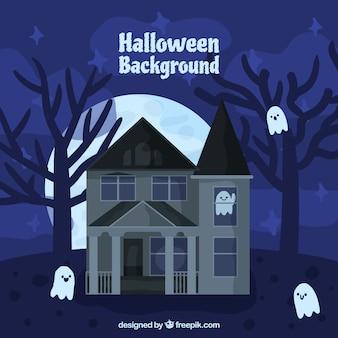 Halloween-hintergrund mit einem verlassenen haus