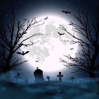 Halloween-hintergrund mit friedhof, baum und mond. illustration