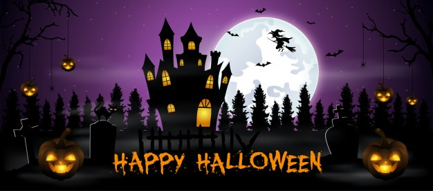 Halloween-hintergrund mit friedhof, fledermäusen und schloss