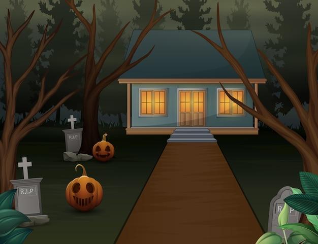 Halloween-hintergrund mit furchtsamem haus in der nacht