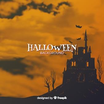 Halloween-hintergrund mit geisterhaus