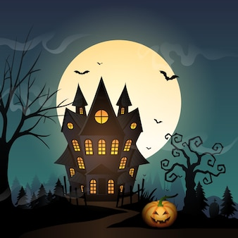 Halloween-hintergrund mit gespenstischem schloss